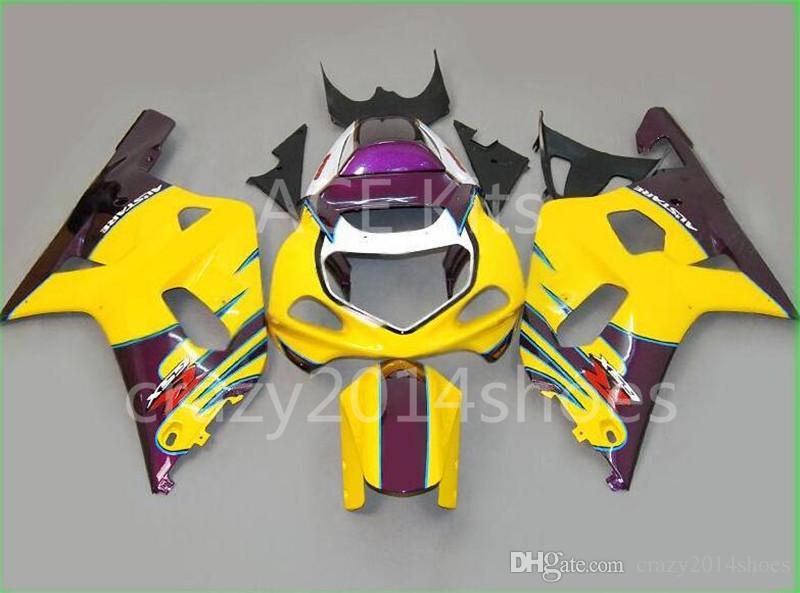 5 regalos gratis Nueva ABS kits de carenado de motocicleta 100% aptos para SUZUKI GSXR600 GSXR750 01 02 03 K1 R600 R750 2001 2002 2003 amarillo y morado No.6