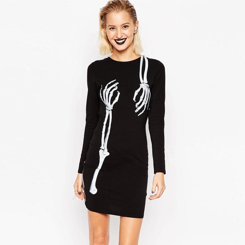 2017 Runway Womens Fashion Skull Print Dress Long Sleeved Round ...