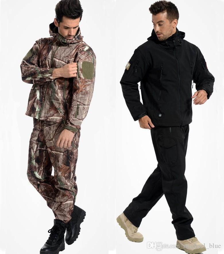 Tactical Soft Shell Jacket Sets Shark Skin Outdoor Clothes Uniform Camouflage Waterproof Jacket and Pants Shark Skin TAD Suits