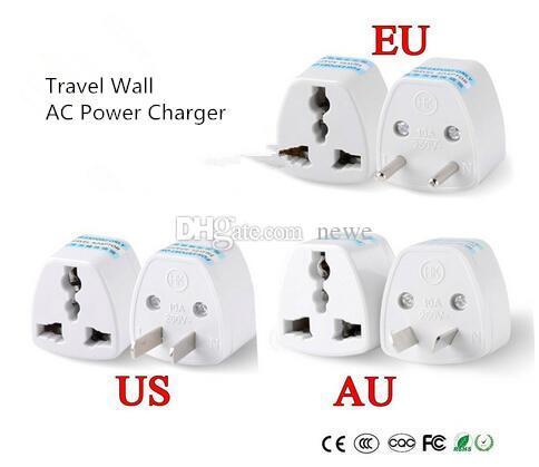 Nuevo 1 UNID Universal EE. UU. UU. AU A UE Enchufe EE. UU. A Euro Europe Travel Wall Adaptador de Enchufe de Alimentación de CA Adaptador de Corriente 2 Pin Redondo