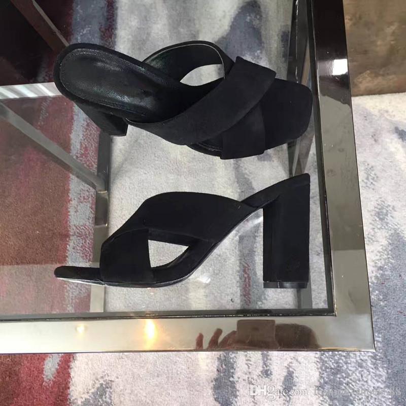 O Mules salto alto 9 cm7 cm, a tendência da moda, deve ter sapatos para o verão, elegante e fácil de combinar o seu olhar diário