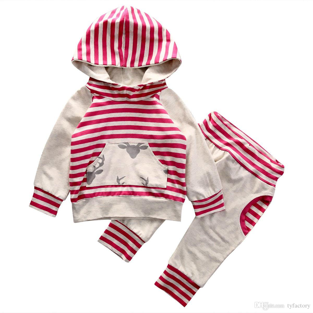 2017 Toddler Baby Boys Girls Reindeer Red Striped Tops Hooded + Harem Pants Outfits Set 6M-3Y