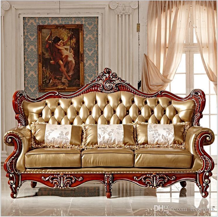 neue ankunft heißer verkauf hohe qualität europäischen antiken wohnzimmer  sofa möbel echtes leder set pfy10002