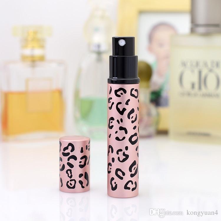 Top Quality 8ml Perfume Bottles Leopard aluminum tube packaging Travel perfume bottles Refillable Atomiser Spray Bottles 8ML