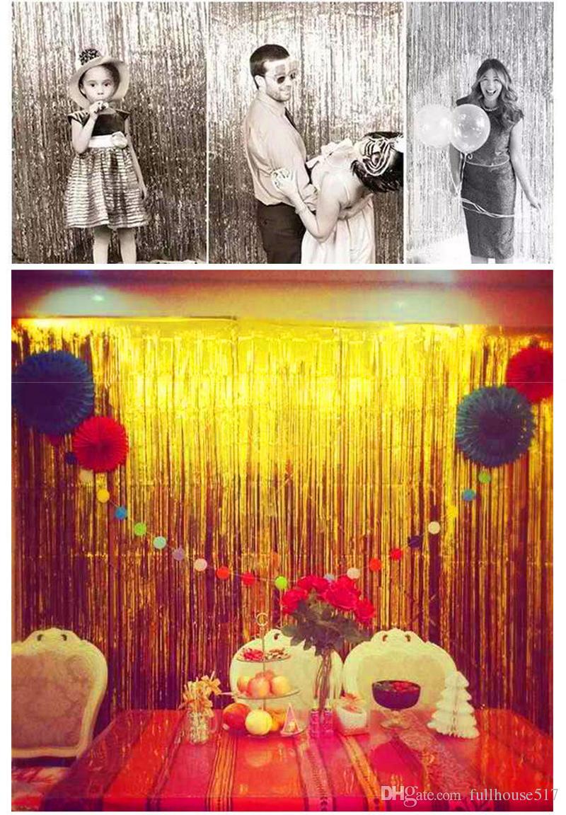 Kunststoff Lametta Folie Fringe Vorhänge Tür Fenster Vorhang Photo Booth Hintergrund Kulissen für Party Prom Geburtstag Hochzeit Event Dekorationen