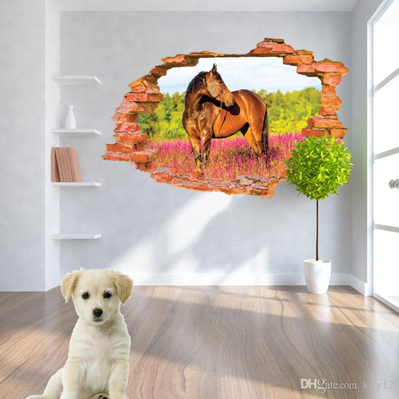 Wholesale Modern 3D Wallpaper Horse Flower Forest Luxury Creative Bedroom Living Room Wall Stickers