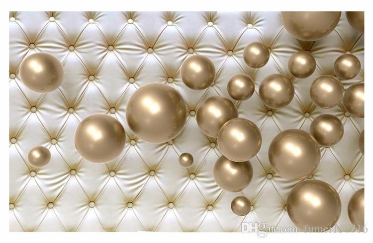Custom 3D Photo Wallpaper Moderno Estereoscópico 3D Bola de oro Paquete suave de fondo Gran pintura de pared Sala de estar Dormitorio Mural