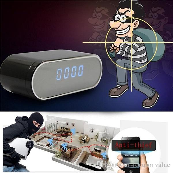 WiFi Clock mini IP P2P Camera 1080P with night vision 160 degree Wide Angle alarm clock DVR remote monitor home security Nanny camera