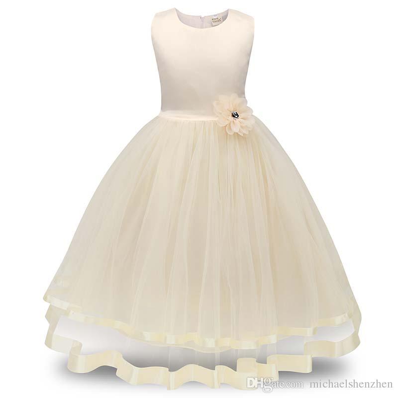 Платья для девочек-цветочниц Дети Принцесса Pageant Формальное свадебное платье Вечеринка Детская одежда Девушки Длинное платье Подружка невесты бальное платье