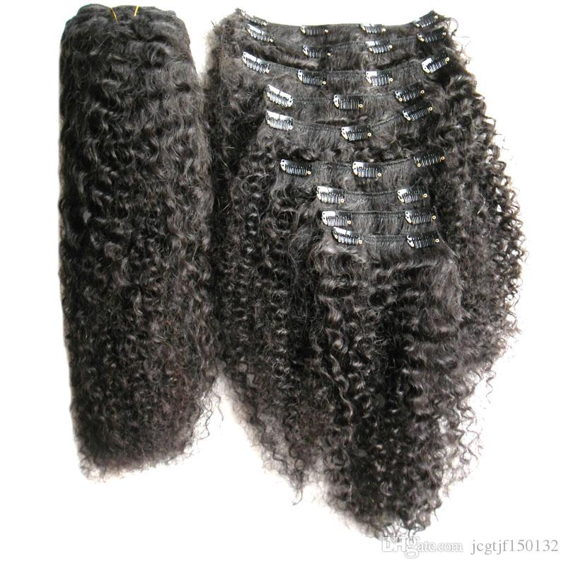 Mongolian kinky Curly hair afro kinky clip in extensions 100g african american clip in human hair extensions