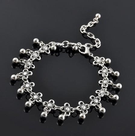 Bracelets de cheville de Bohème Filles / Dames Vintage Waterdrop Antique Silver Gravé Fleurs Bracelets de la cheville Foot Chains Sandales pieds nus