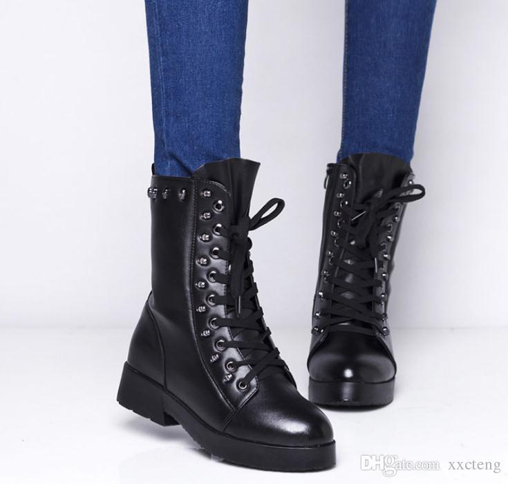 2017 Spring Autumn Pumps Leather Boots