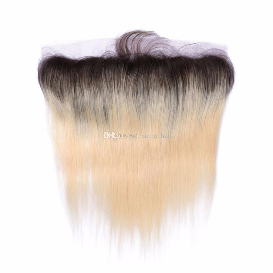 Ombre Blondes Haar mit Spitze Frontal 1b 613 sliky gerade Menschenhaar-Bündel mit 13 * 4 voller Spitze Frontal brasilianischen Jungfrau-Haar 8a Grad
