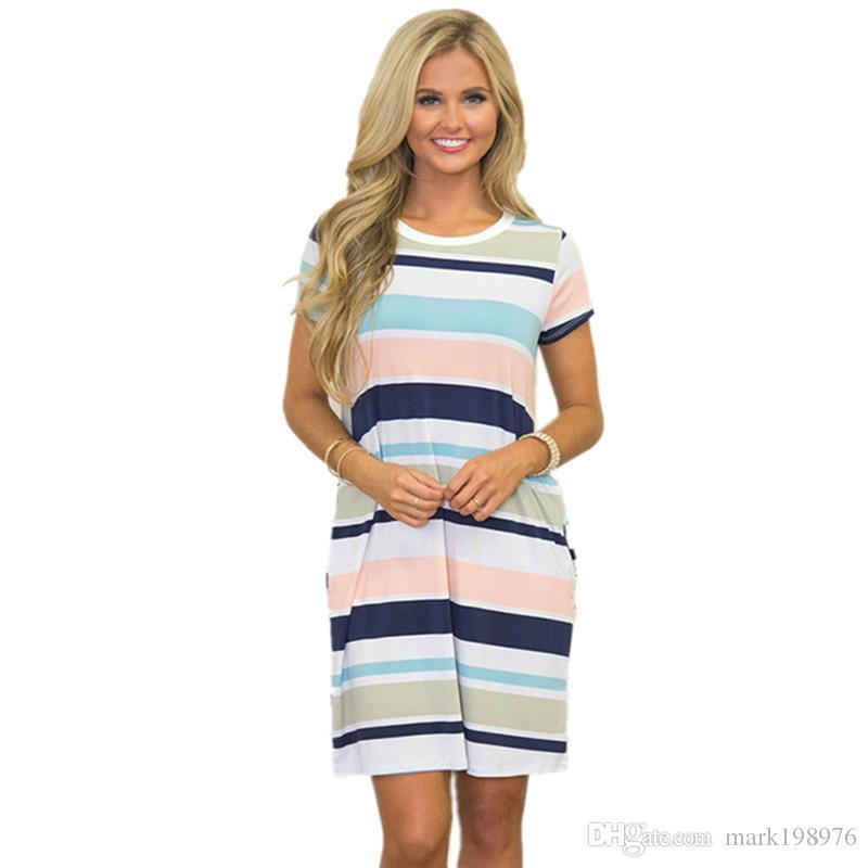 20f12c57bb3 New Summer Style Vestidos Women Dress 2017 Fashion Colorful Striped Dresses  Short Sleeve O Neck Loose Dresses Sexy Mini Dress DR027 Ladies Dress Styles  ...