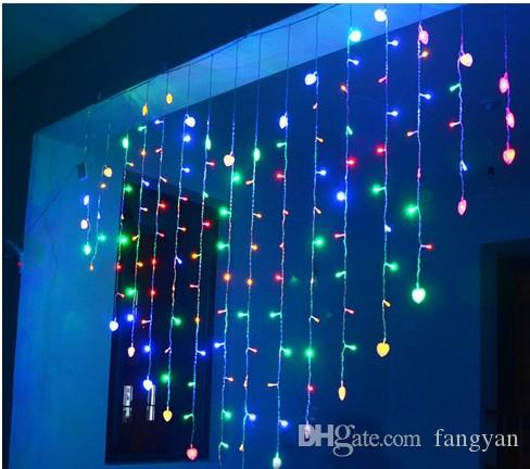 Weihnachtsbeleuchtung Lichterketten Led.2mx1 6m Herzform Led Lichterketten 34 Herzen Urlaub Weihnachtsbeleuchtung Hochzeit Im Freien Deco Racao Vorhang Lichter Eu Us Uk Au Plug