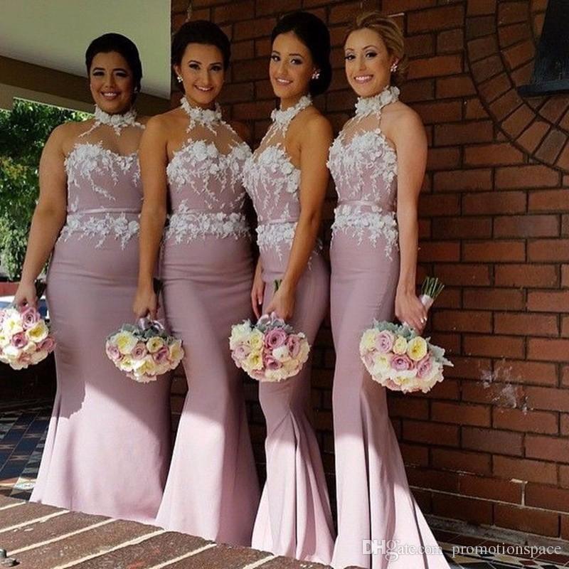 Pastell rosa sjöjungfrun halter hals ärmlös satin golv längd brudtärna klänning med spets bodice 2016 plus storlek prom klänningar