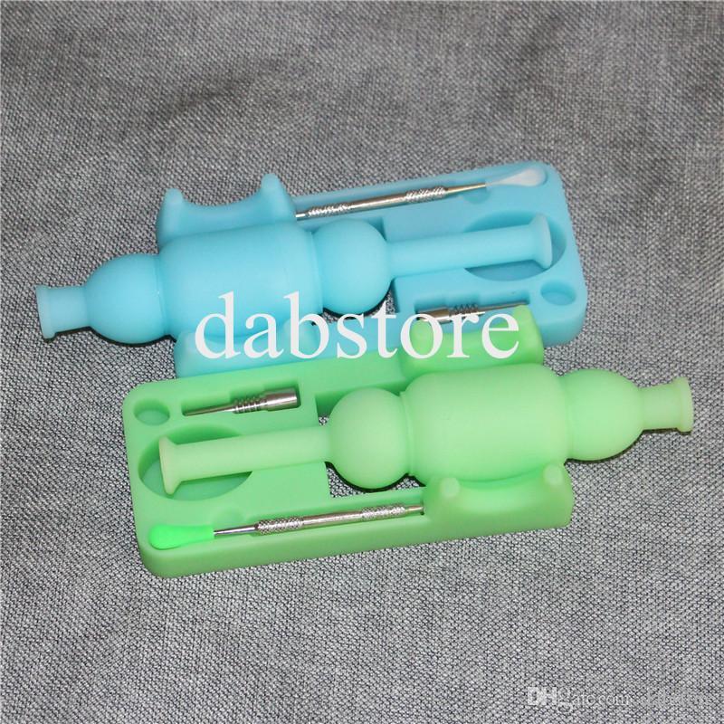 Bagliore caldo di vendita in kit di nettare di silicone scuro con bong in titanio da 10mm e mini bong in silicone