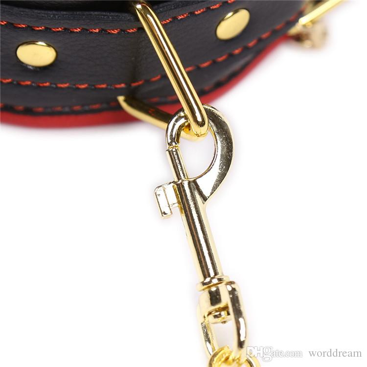 Bdsm Leather Collar Dog Slave Hand Wrist Cuffs Metal Nipples Clamps Stimulator In Adult Games , Fetish Sex Toys For Women