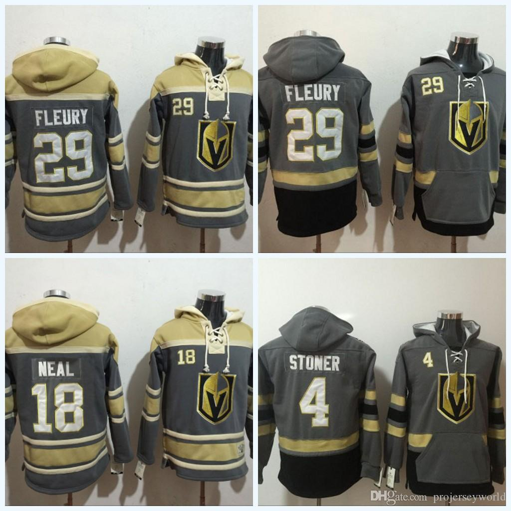 2019 Mens Vegas Golden Knights Jerseys  29 Marc Andre Fleury  18 James Neal   4 Clayton Stoner  Blank Grey Hoodie Sweater Hockey Jerseys From  Projerseyworld c713a1a81
