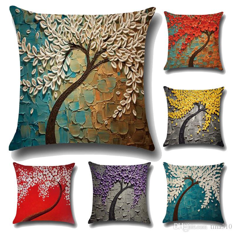 Three Dimensional Painting Pillowcase Tree Flowers Cotton And Linen Impressive Decorative Pillow Sets Clearance