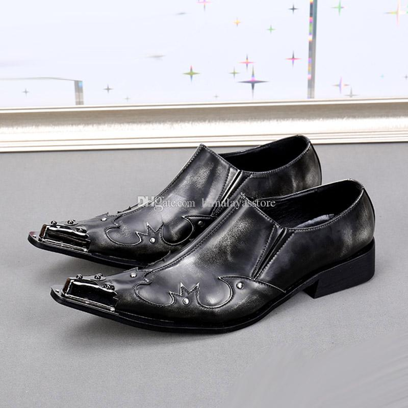 5d447838fe7 Western Style Men Shoes Genuine Leather Business Party Shoes for Men Iron  Pointed Toe Black Grey Men Wedding Shoes