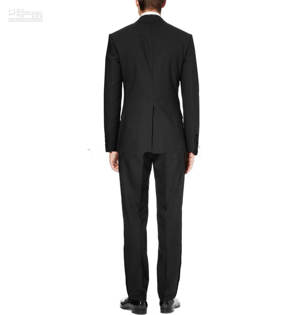 Custom-made Black Groom Tuxedos Notch Lapel Best Man Suits Jacket+Pants+Tie+Waistband G514