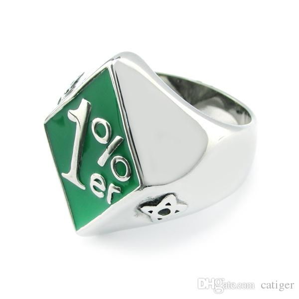 ! Punk 316L Stainless Steel Silver White Green color Soft Enamel 1% ER Biker Ring,One Percent Ring