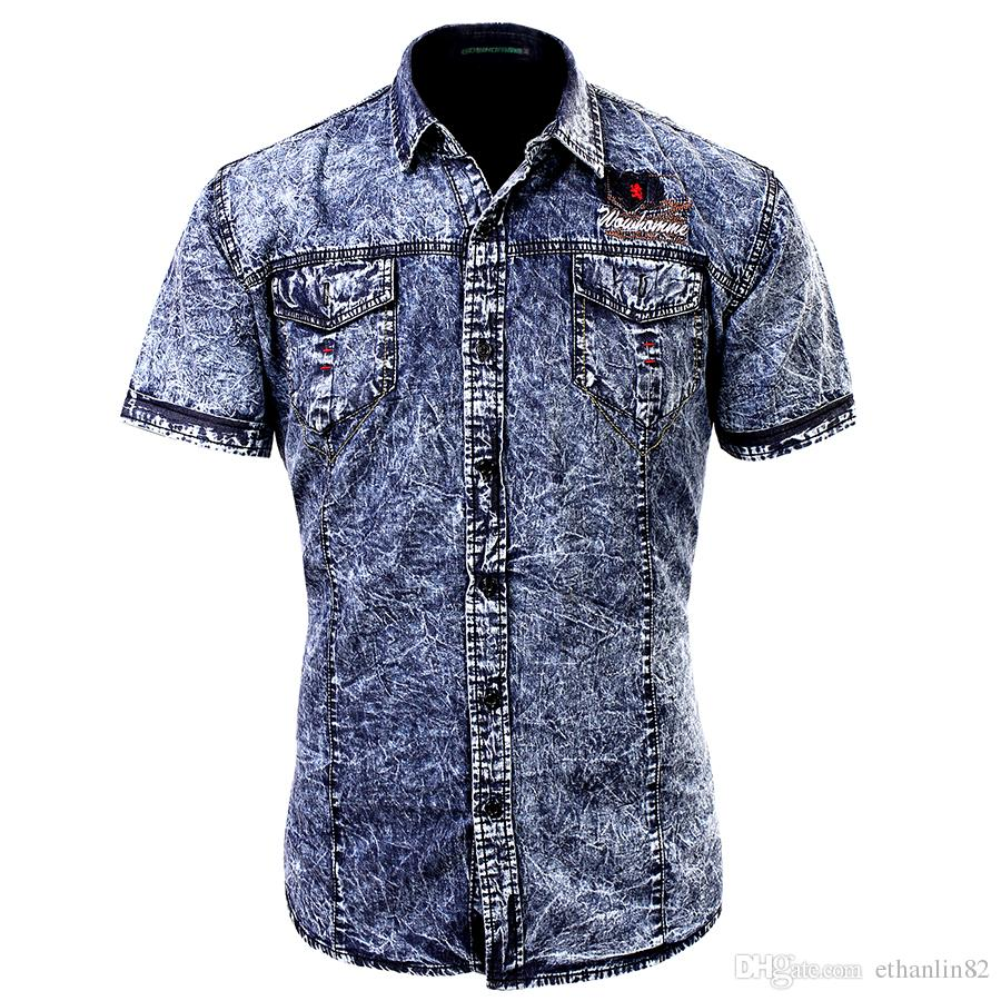 Fashion Cotton Man Casual Slim Fit Denim Cargo Shirtseuropean Style