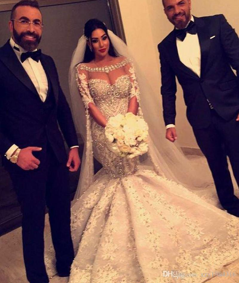 2017 Mermaid Gorgeous Wedding Gowns Luxury Crystal Beaded Appliques Long Sleeves Bridal Dress Stunning Sexy Fashion Organza Wedding Dresses
