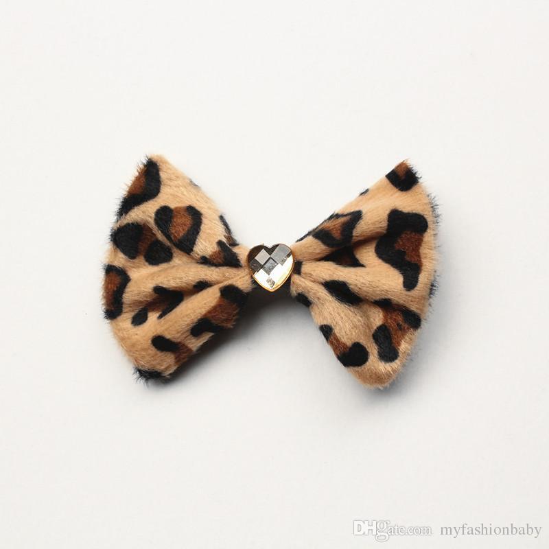 Cartoon Leopard Printed Hair Bow Girls Love Pearl Bows Hairpin Silver Star Floral Black Netting Hair Barrette Printed
