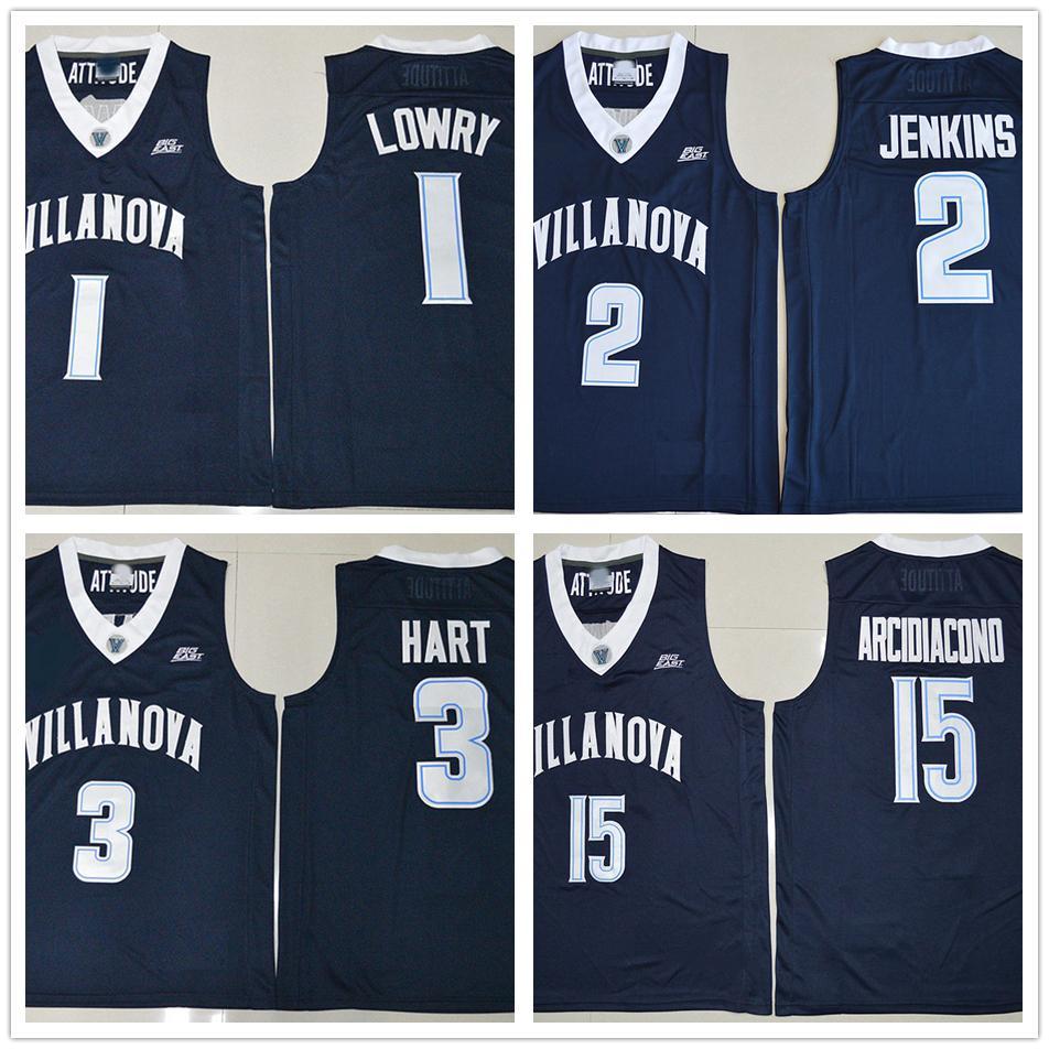 589027177816 2019 NCAA Villanova Wildcats College Jerseys 1 Kyle Lowry 2 Kris Jenkins 3  Josh Hart 15 Ryan Arcidiacono Basketball Jersey Navy Blue Color From  Fans edge