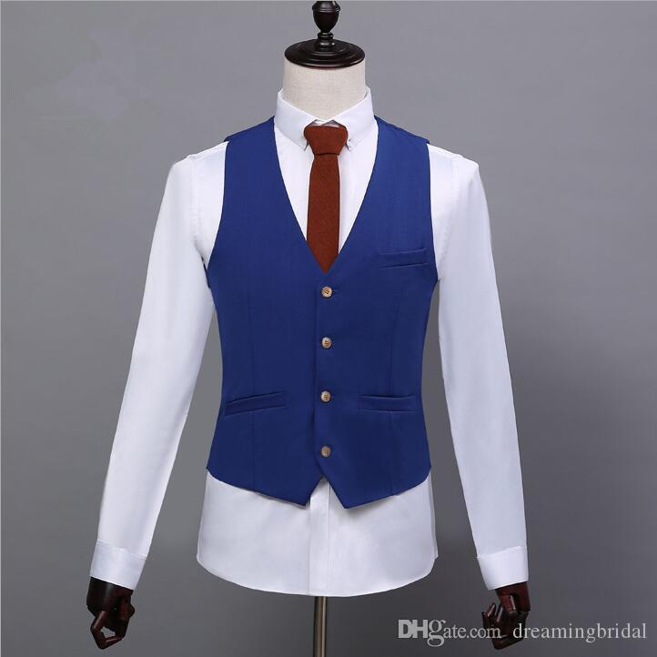 2017 Boda Esmoquin Traje de padrino de boda por encargo Traje de tres piezas Dos botones Vestido de boda de poliéster Vestidos formales Vestido de fiesta