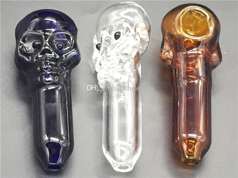 Teschio di vetro di teschio di tabacco fumante di vetro di erba pipa con grande ciotola di tabacco profondo