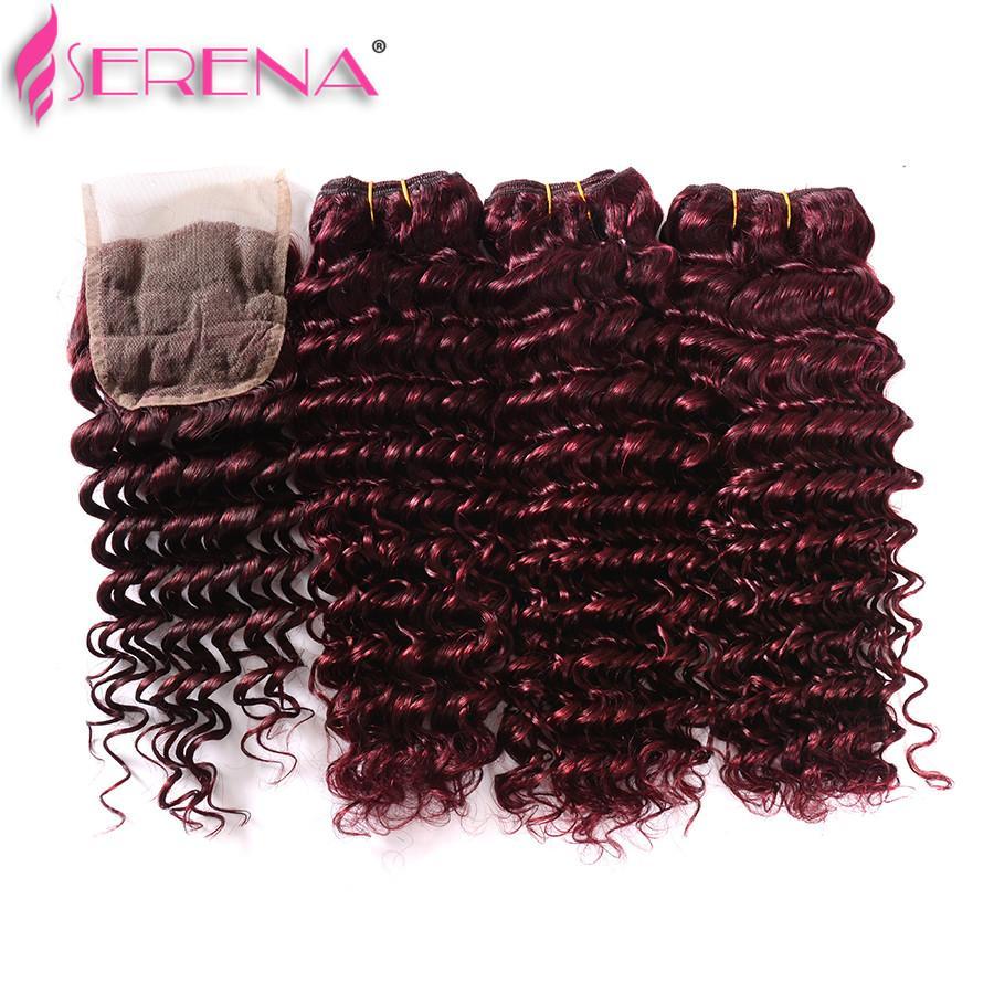 Vendita a buon mercato capelli umani 100g fasci capelli umani tessono onda profonda # 99J Vino rosso remy malese capelli ricci tessuto online 16 18 20 22 24 26 28 pollici