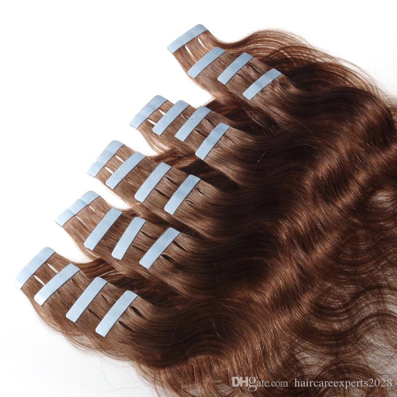 Nastro nelle estensioni dei capelli umani - 16 18 20 22 24 26 pollici 40 pezzi testa piena 2.5 g / pz onda del corpo trama della pelle dei capelli umani vergini remy capelli umani DHLshipping