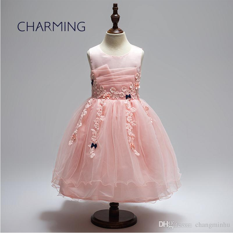 b97b70a6fc1055 prom dresses suitable for 3-12 year old girl 2 color (white + pink) girls  dresses flower girls dresses