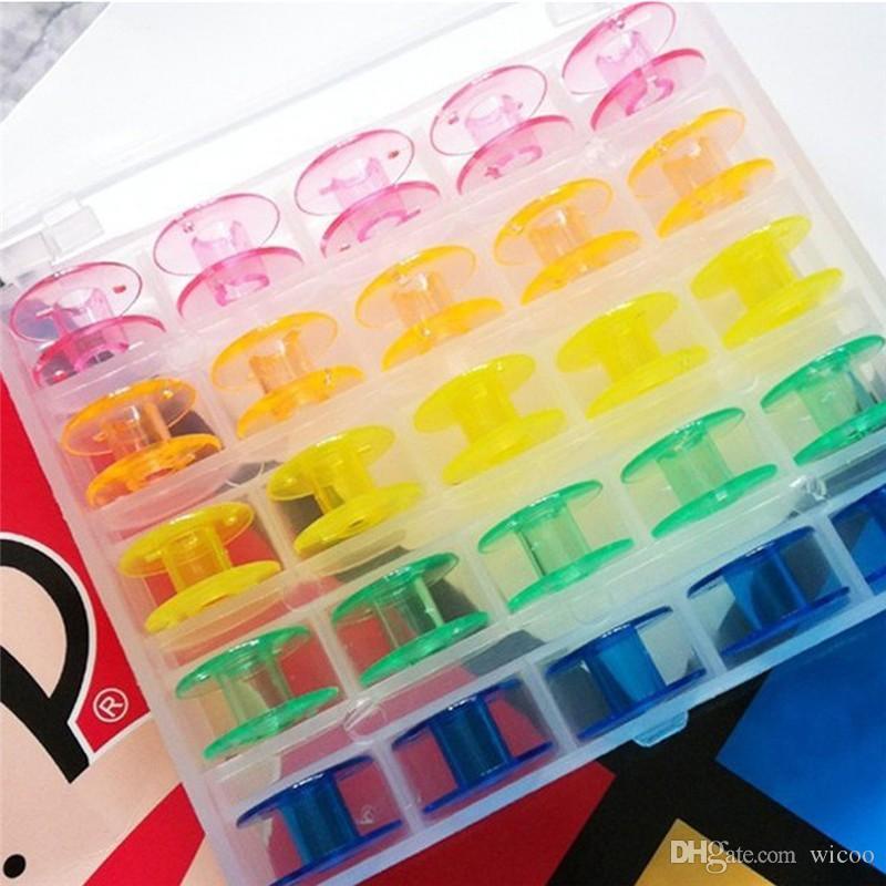 25 Grid Limpar Caixa De Caixa De Armazenamento Com Vazio Colorido Caixa De Costura Bobinas Carretel para O Irmão Janome Cantor Elna Máquina De Costura