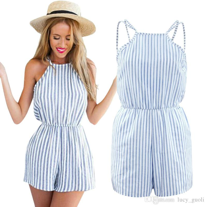 50ff862ece9d9c 2019 Sleeveless Summer Style Beach Rompers Women Jumpsuit Ladies Sexy  Vertical Stripe Backless Cutaway Rompers Casual Playsuit Trousers Plus Size  From ...