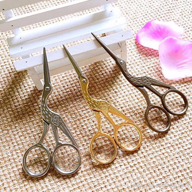 2 unids Vintage Tailor Crane Tijeras Aleación antigua costura Costura Pinking Tijeras Tela de mezclilla de cuero Craft cortador Heron sastre Tijera 1S