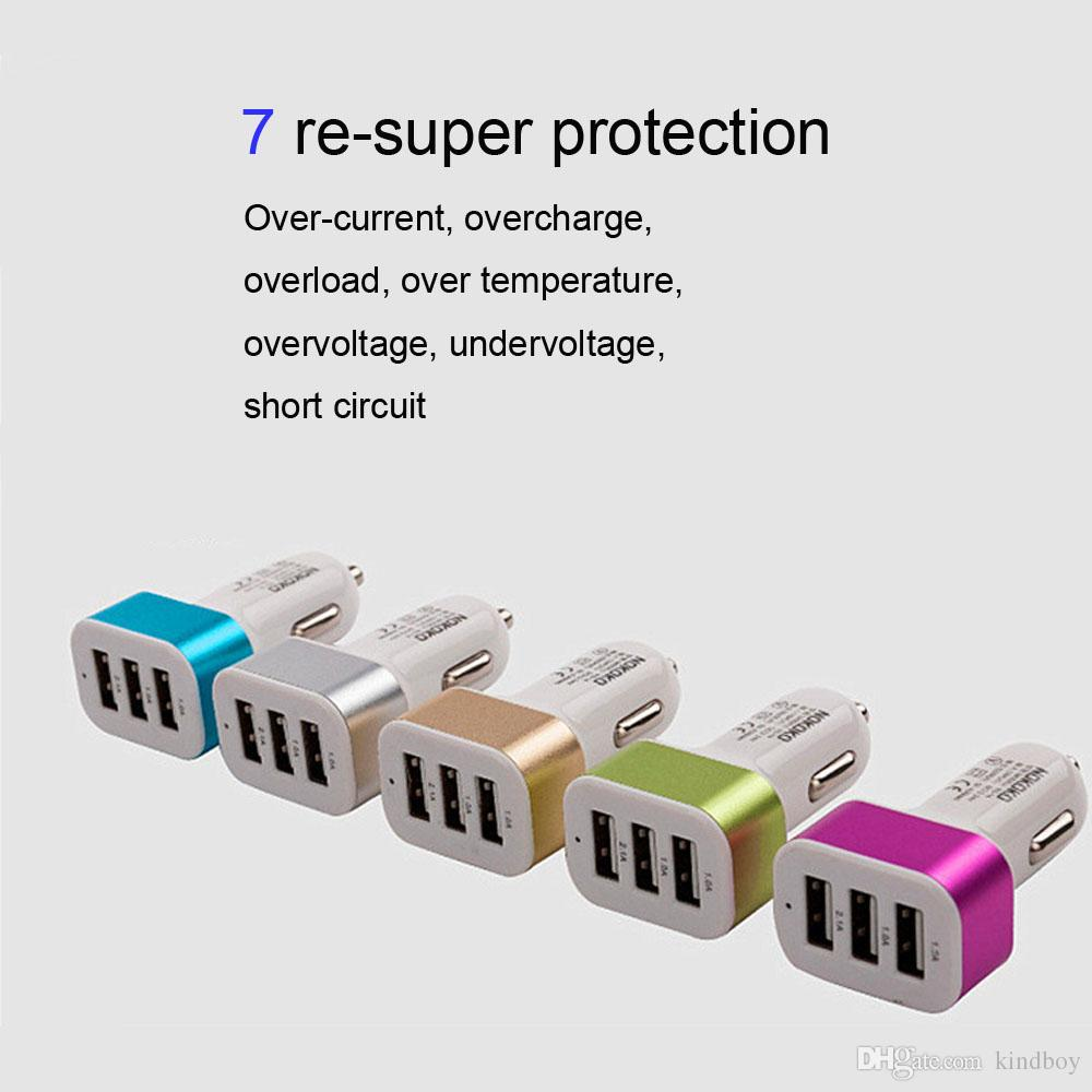 Car Universal 12V 24V To 5V 3Port USB Charger Adapter For Smart phone GPS free DHL