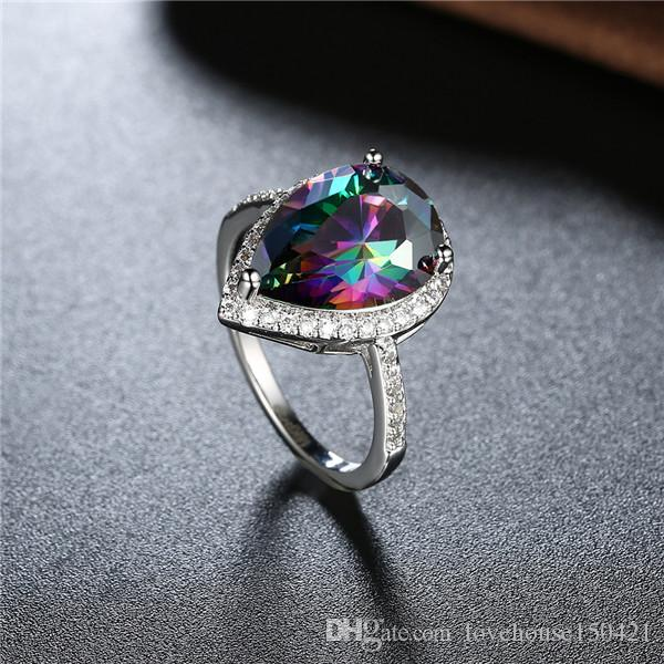 Мода Water Drop Pattern Пять Цветных Цирконов Кольцо Для Женщин 18 К Настоящее Позолота Платиновое Покрытие Кубического Циркония Кольцо