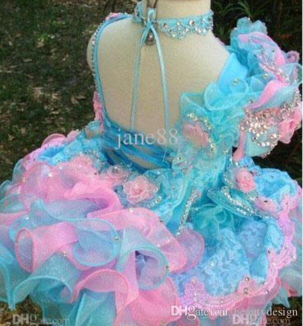 Adorable 2017 tan lindo vestido de la muchacha de la magdalena vestidos de lentejuelas con cuentas volantes apliques cortos de flores de Navidad niñas vestidos de bola BO6995