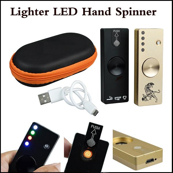LED Fidget Spinner Cigarette Lighter Aluminium Alloy USB Charger 3 in 1 Functions Gyro Finger Tip EDC Toy Gold Black Colors In stock