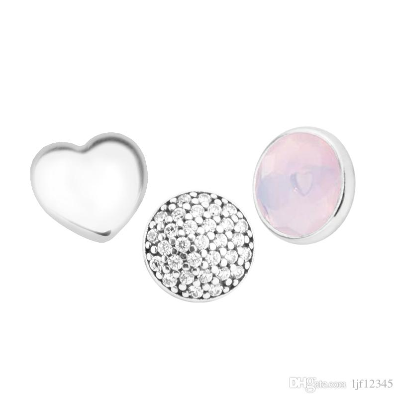 October Petites Opalescent Pink Crystal & CZ Charm for Locket necklace Charms Fits Pandora Bracelet sterling silver jewelry making charms