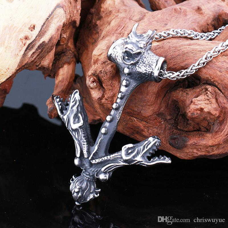 Hot sale Punk Stainless Steel Chinese dragon Biker Mens Necklace Pendant Personalized Biker Mens Fashion Jewelry