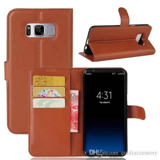 Samsung Galaxy S9 S8 ARTı J3 Başbakan J3 2017 Ortaya Huawei P10 Mate 9 Lite Flip Deri Cüzdan Kılıf Vaka Litchi Leechee Kart Kapağı Standı