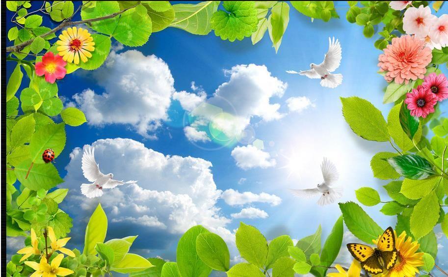 Özel 3d fotoğraf tavan duvar resmi Mavi gökyüzü ve beyaz bulutlar güvercin yeşil lea oturma odası için tavan duvar kağıtları 3d tavan duvar kağıdı