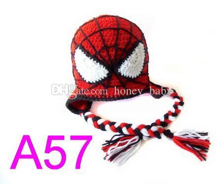 3ae91e3bb8207 Compre Superman Capitão América Homem Aranha Homem De Ferro Batman Máscara  Super Hero Cap Crochet Animal Infantil Criança Baby Boy Hat Natal Das  Crianças ...