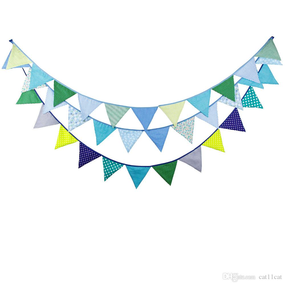 Cotton Fabric Banners Blue Bunting Decor Wedding Garland Birthday Party Decoration bunting