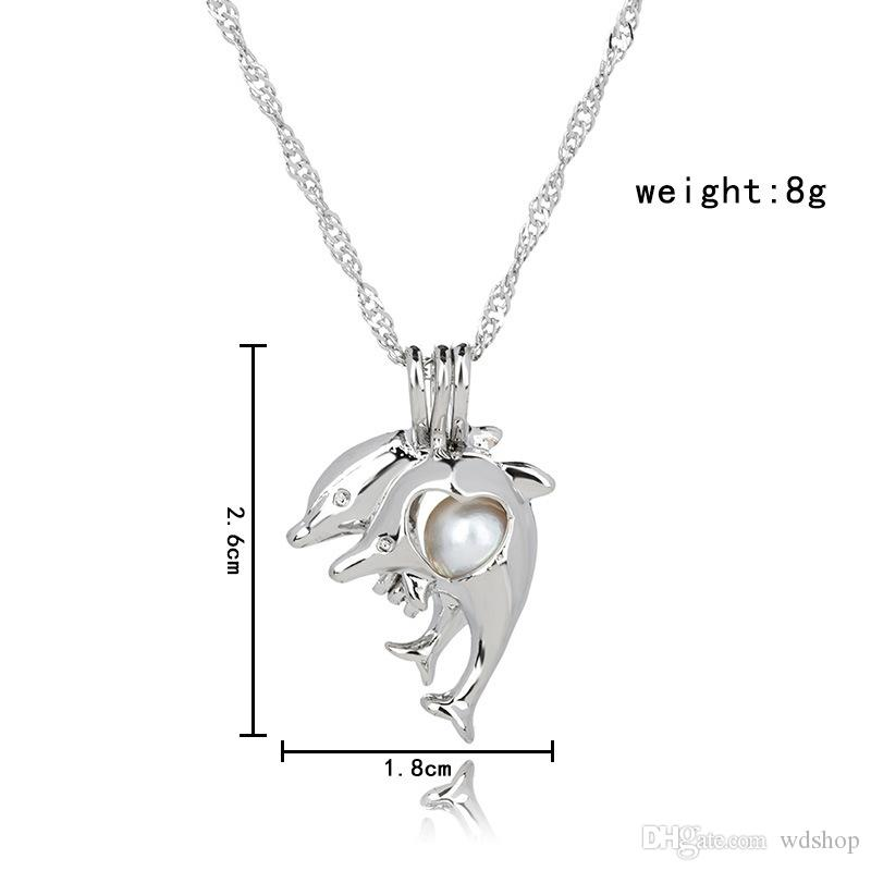 Pearl Cage Pendant Necklace Love Wish Natural Pearl With White Oyster Pearl Fashion Hollow Locket Clavicle Chain Diffuser Necklace